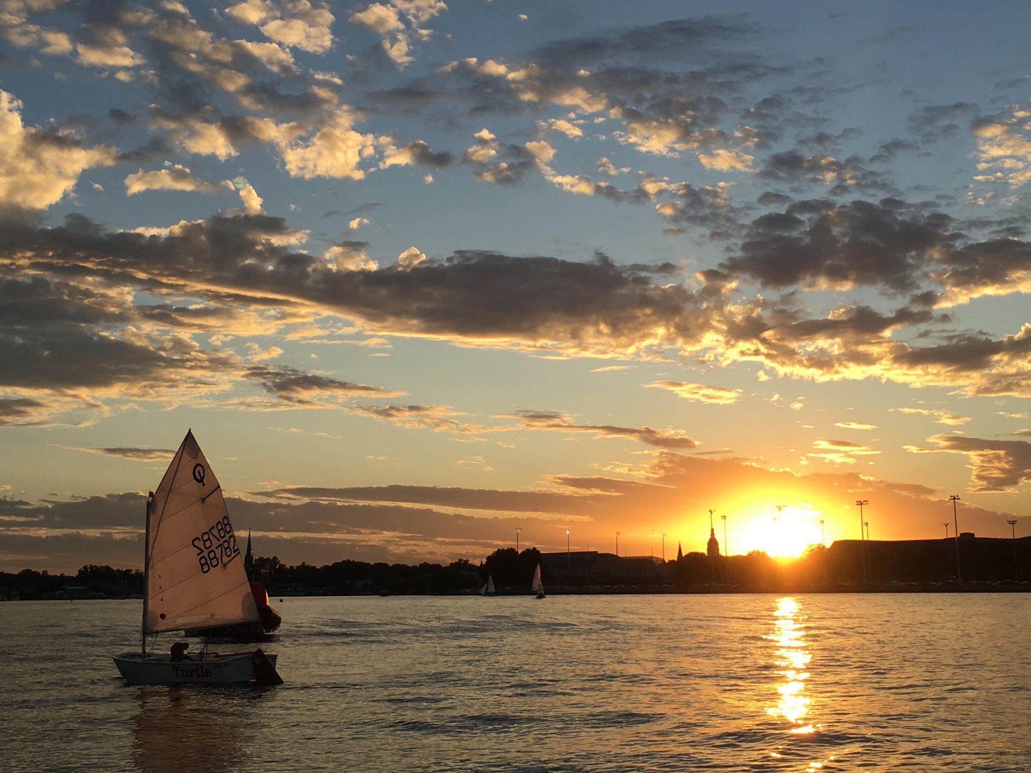 sunset, water, sailing
