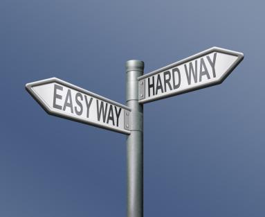 road sign, easy way, hard way
